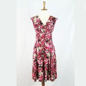 London Times Floral Seamed Stretch Aline Dress 6P